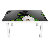 Виниловая наклейка на стол Черные Камни (интерьерная ПВХ пленка для мебели) орхидеи капли Текстура 600*1200 мм, фото 1