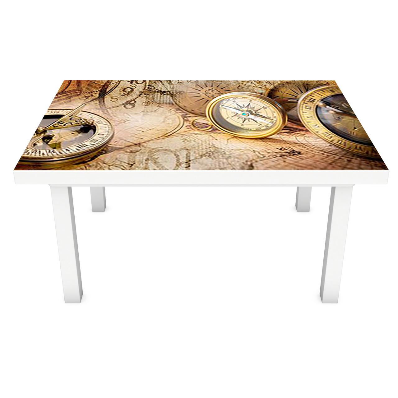 Виниловая наклейка на стол Компас интерьерная ПВХ пленка для мебели карты канаты пираты Море Бежевый 600*1200