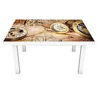 Виниловая наклейка на стол Компас интерьерная ПВХ пленка для мебели карты канаты пираты Море Бежевый 600*1200, фото 1