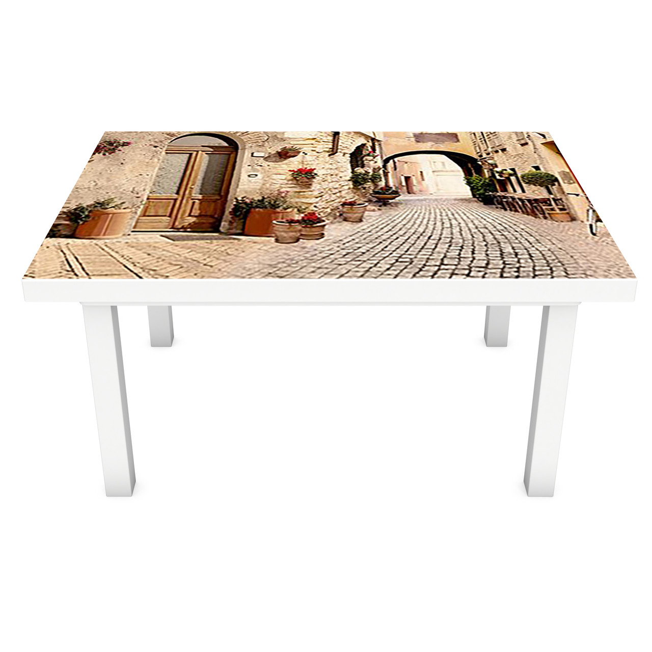 Виниловая наклейка на стол Прованс 03 интерьерная ПВХ пленка для мебели мощенные улицы брусчатка Город Бежевый