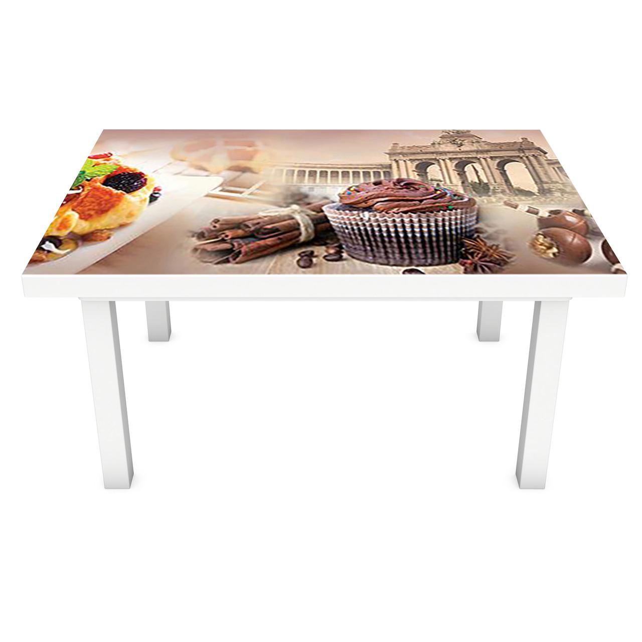 Виниловая наклейка на стол Классические Сладости интерьерная ПВХ пленка для мебели город шоколад фрукты