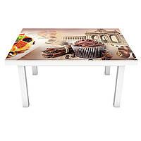 Виниловая наклейка на стол Классические Сладости интерьерная ПВХ пленка для мебели город шоколад фрукты, фото 1