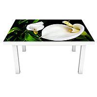 Виниловая наклейка на стол Белые Каллы (интерьерная ПВХ пленка для мебели) цветы пальмы Зеленый 600*1200 мм