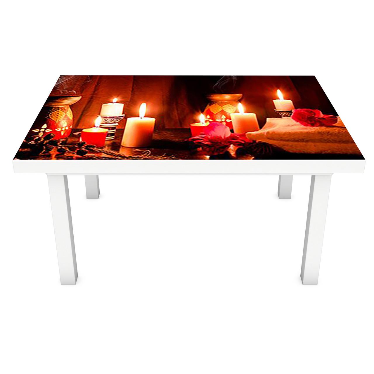 Виниловая наклейка на стол Романтический вечер (интерьерная ПВХ пленка для мебели) Свечи СПА Коричневый 600*1200 мм