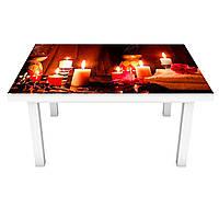 Виниловая наклейка на стол Романтический вечер (интерьерная ПВХ пленка для мебели) Свечи СПА Коричневый 600*1200 мм, фото 1