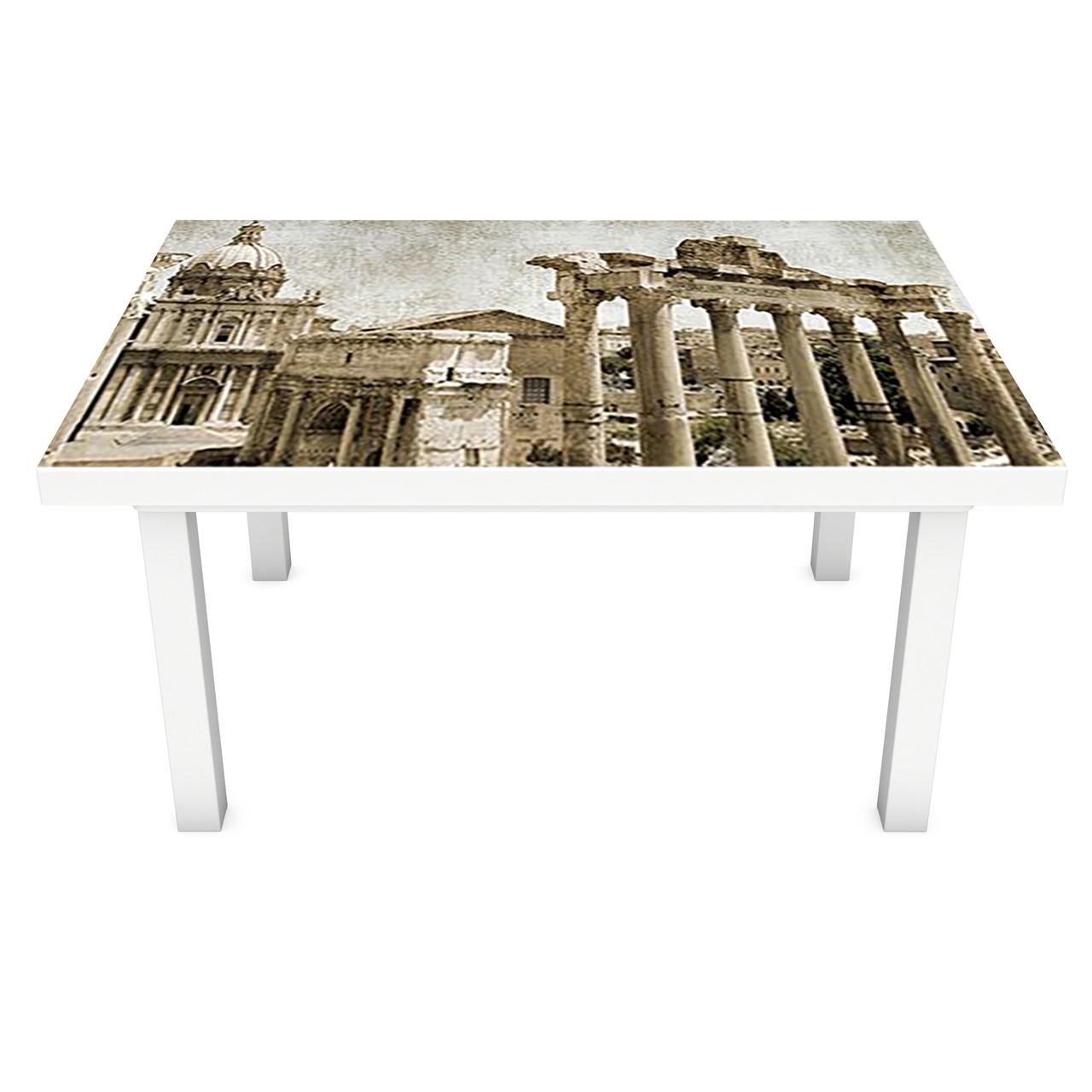 Виниловая наклейка на стол Античный город интерьерная ПВХ пленка для мебели колонны винтаж ретро Бежевый