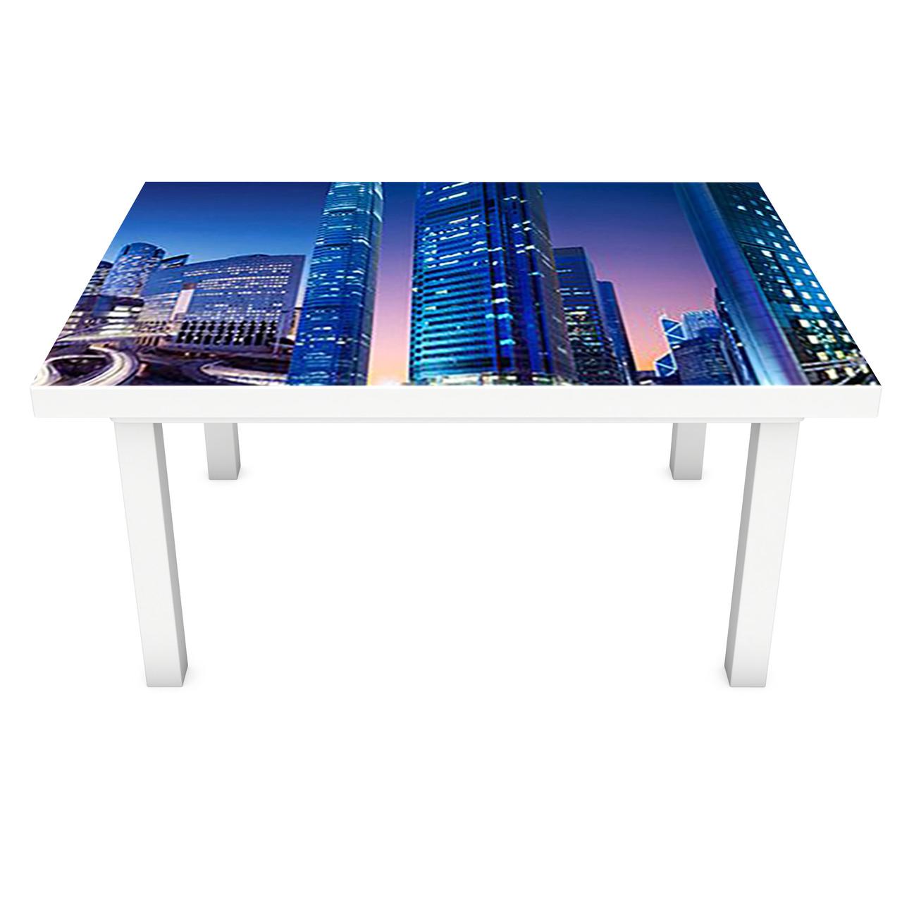 Виниловая наклейка на стол Скорость (интерьерная ПВХ пленка для мебели) огни ночного города Синий 600*1200 мм