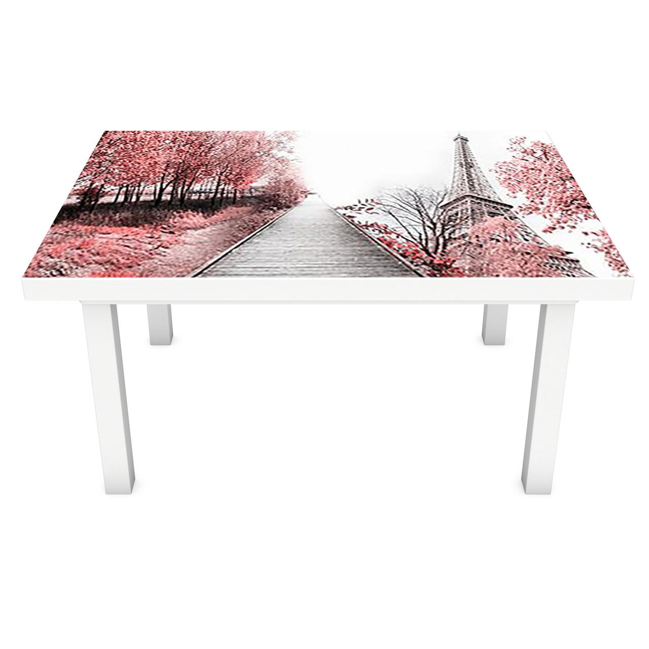Виниловая наклейка на стол Романтическая Алея интерьерная ПВХ пленка для мебели розовые деревья эйфелева башня