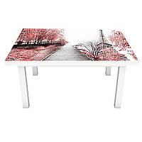 Виниловая наклейка на стол Романтическая Алея интерьерная ПВХ пленка для мебели розовые деревья эйфелева башня, фото 1