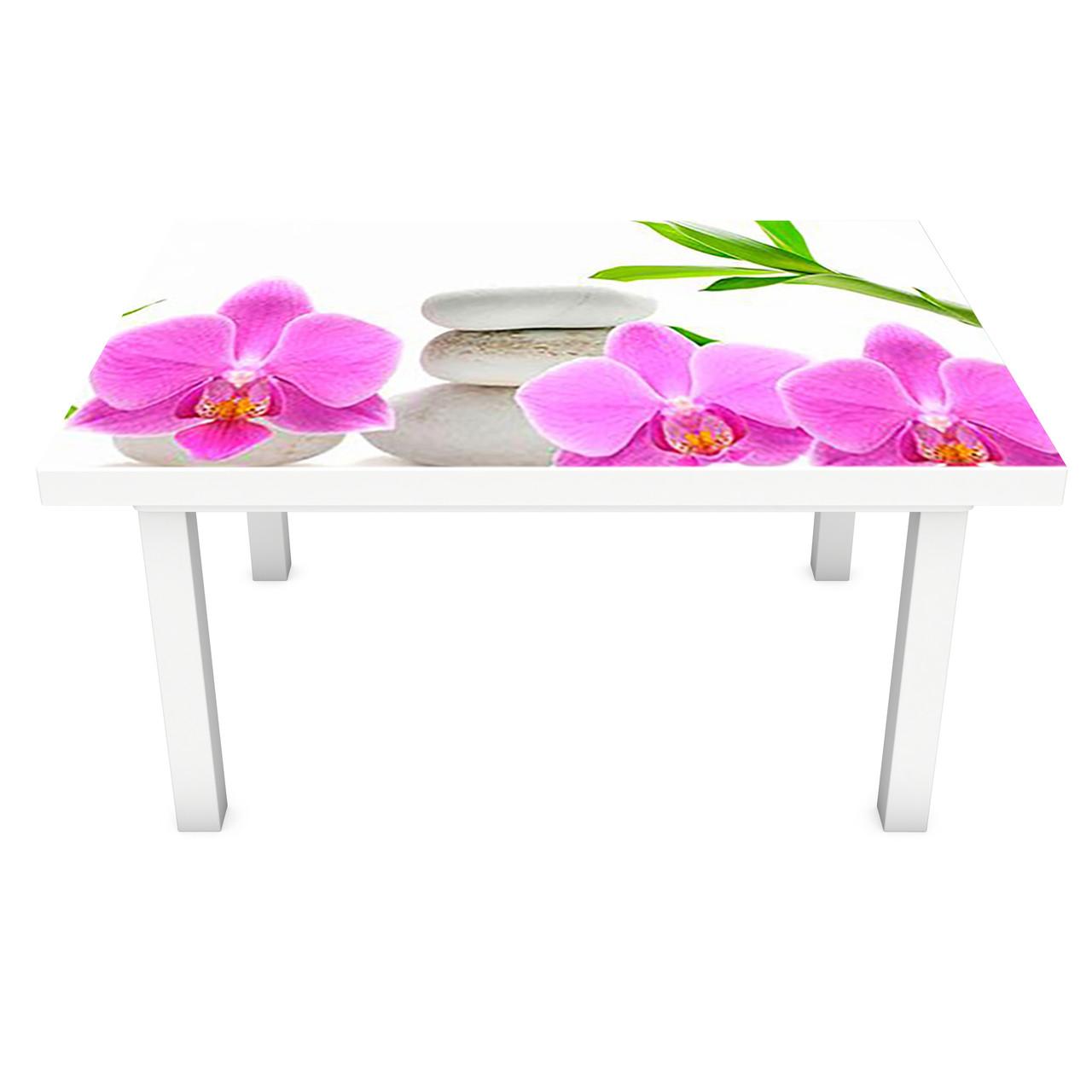 Виниловая наклейка на стол Розовые Орхидеи и Бамбук интерьерная ПВХ пленка для мебели цветы камни Белый