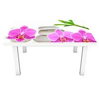 Виниловая наклейка на стол Розовые Орхидеи и Бамбук интерьерная ПВХ пленка для мебели цветы камни Белый, фото 1