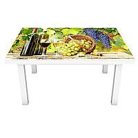 Виниловая наклейка на стол Солнечный Виноград (интерьерная ПВХ пленка для мебели) вино лоза бокал Зеленый 600*1200 мм, фото 1