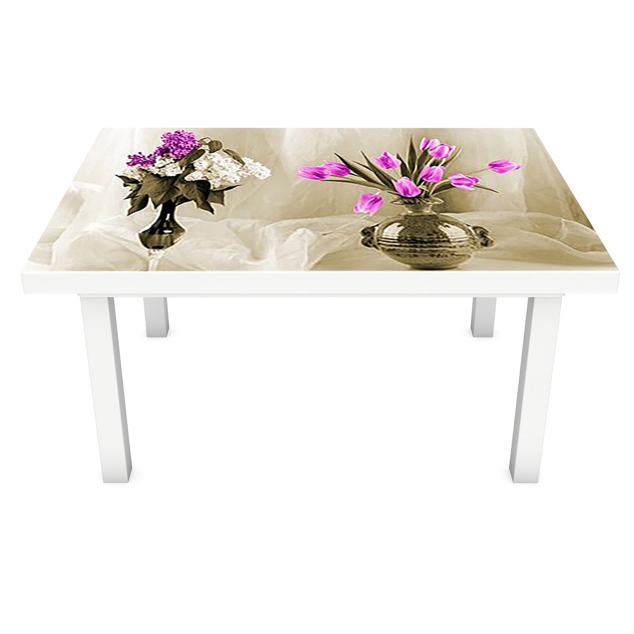 Виниловая наклейка на стол Тюльпаны и Сирень (интерьерная ПВХ пленка для мебели) цветы в вазе вуаль Бежевый 600*1200 мм
