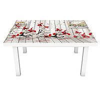 Виниловая наклейка на стол Иллюзия (интерьерная ПВХ пленка для мебели) 3д доски красные цветы Прованс Серый 600*1200 мм