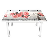 Виниловая наклейка на стол Красные цветы (интерьерная ПВХ пленка для мебели) под кирпич 3Д Серый 600*1200 мм