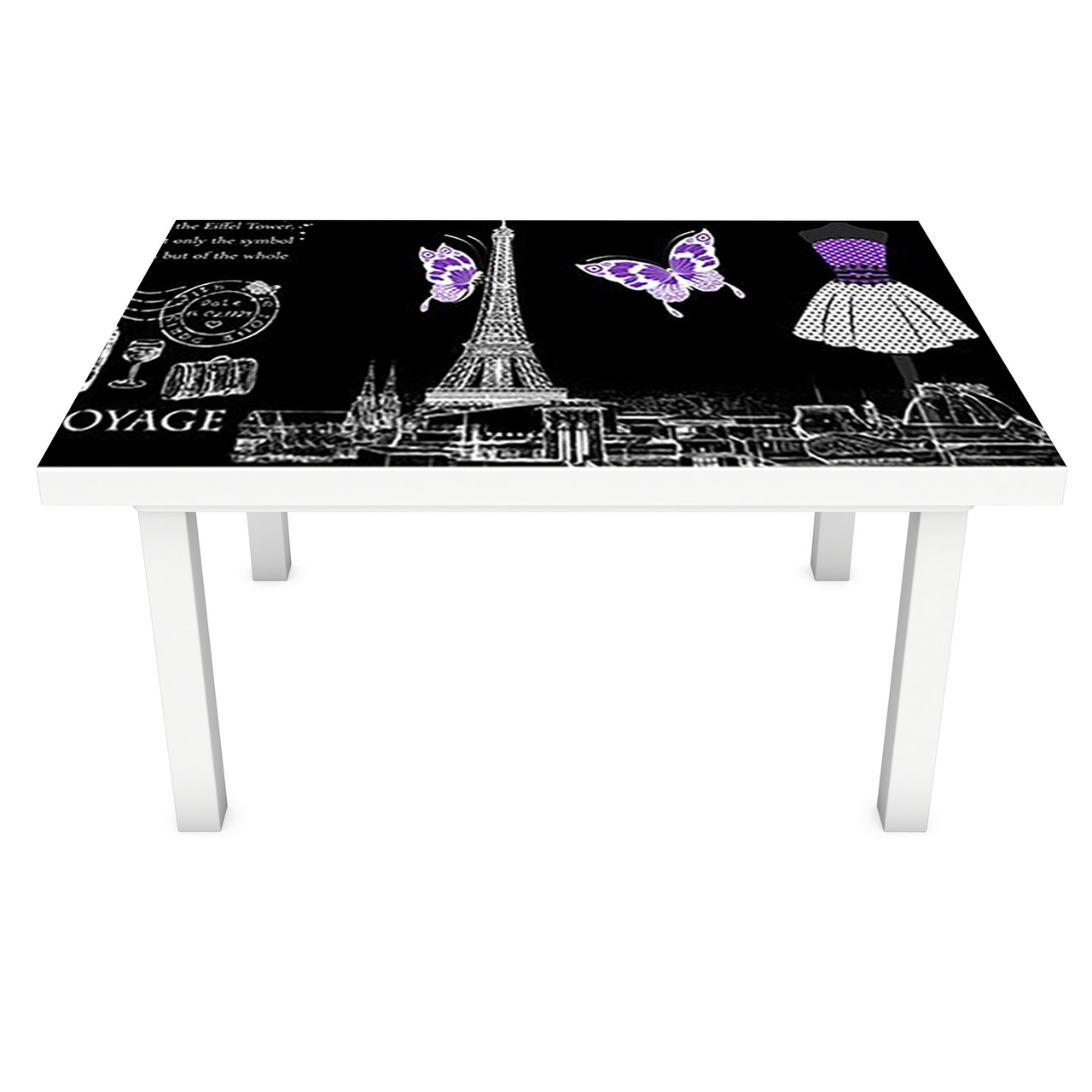 Виниловая наклейка на стол Символы Парижа (интерьерная ПВХ пленка для мебели) Эйфелева башня Фиолетовый 600*1200 мм
