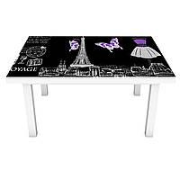 Виниловая наклейка на стол Символы Парижа (интерьерная ПВХ пленка для мебели) Эйфелева башня Фиолетовый 600*1200 мм, фото 1