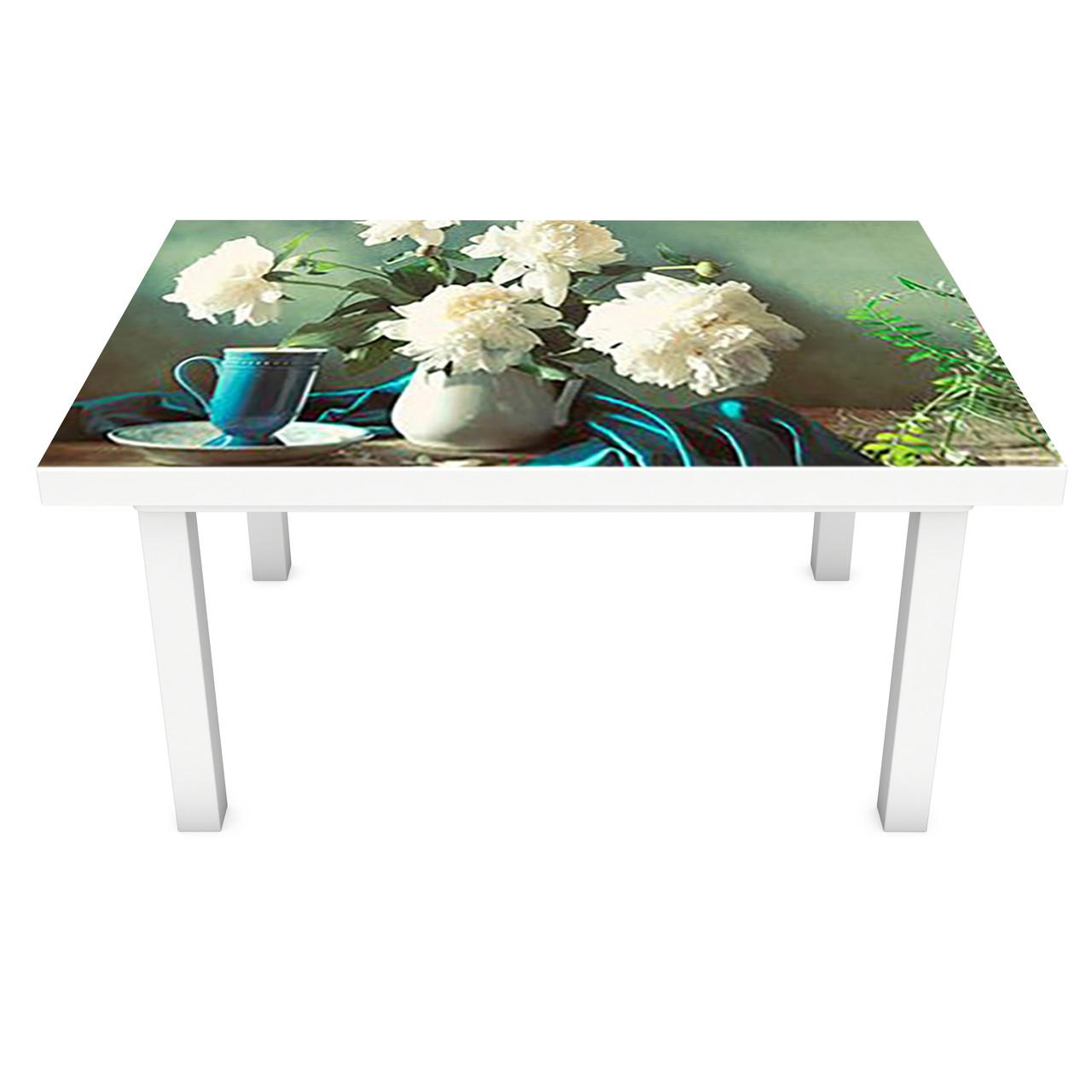 Виниловая наклейка на стол Тюльпаны и Пионы интерьерная ПВХ пленка для мебели цветы букеты Зеленый 600*1200 мм