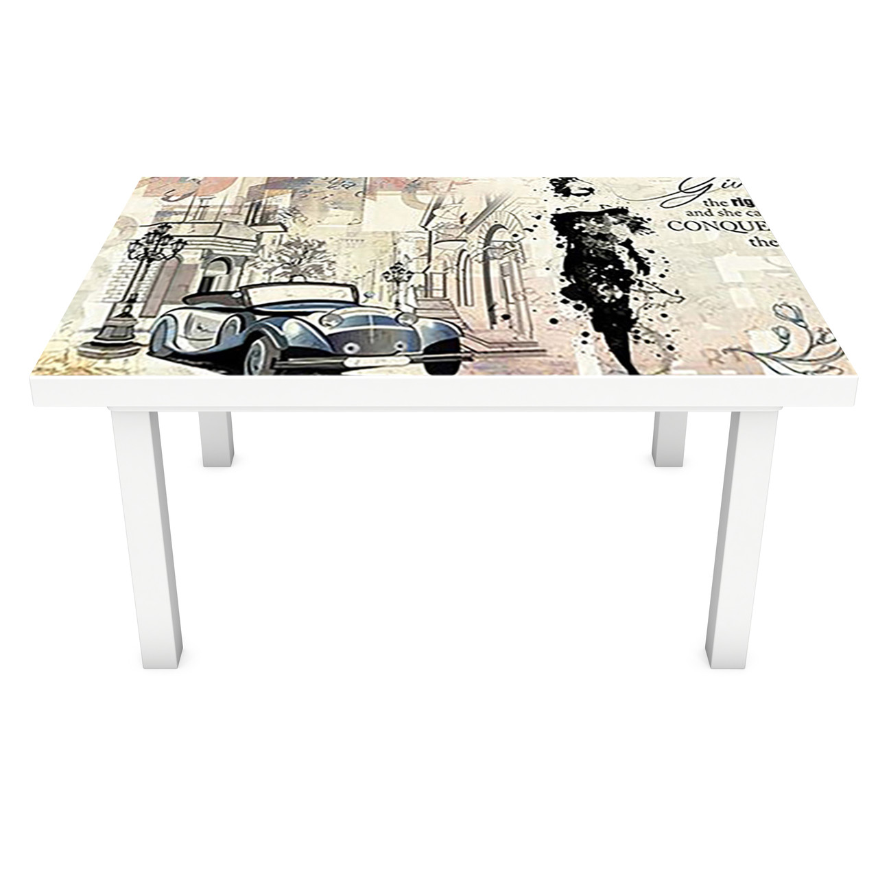 Виниловая наклейка на стол Газета (интерьерная ПВХ пленка для мебели) Париж ретро Бежевый 600*1200 мм