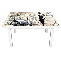 Виниловая наклейка на стол Газета (интерьерная ПВХ пленка для мебели) Париж ретро Бежевый 600*1200 мм, фото 1