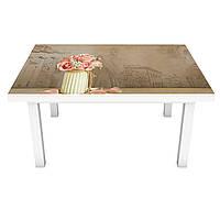 Виниловая наклейка на стол Розы в вазах (интерьерная ПВХ пленка для мебели) 3д винтаж Бежевый 600*1200 мм