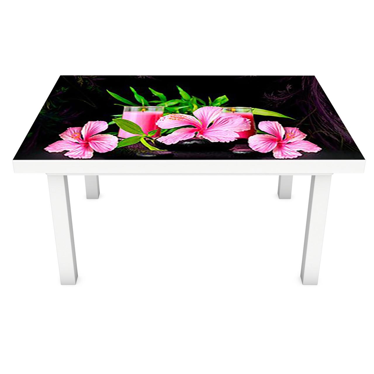 Виниловая наклейка на стол Розовый Гибискус (интерьерная ПВХ пленка для мебели) цветы на Черном фоне 600*1200 мм