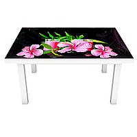 Виниловая наклейка на стол Розовый Гибискус (интерьерная ПВХ пленка для мебели) цветы на Черном фоне 600*1200 мм, фото 1