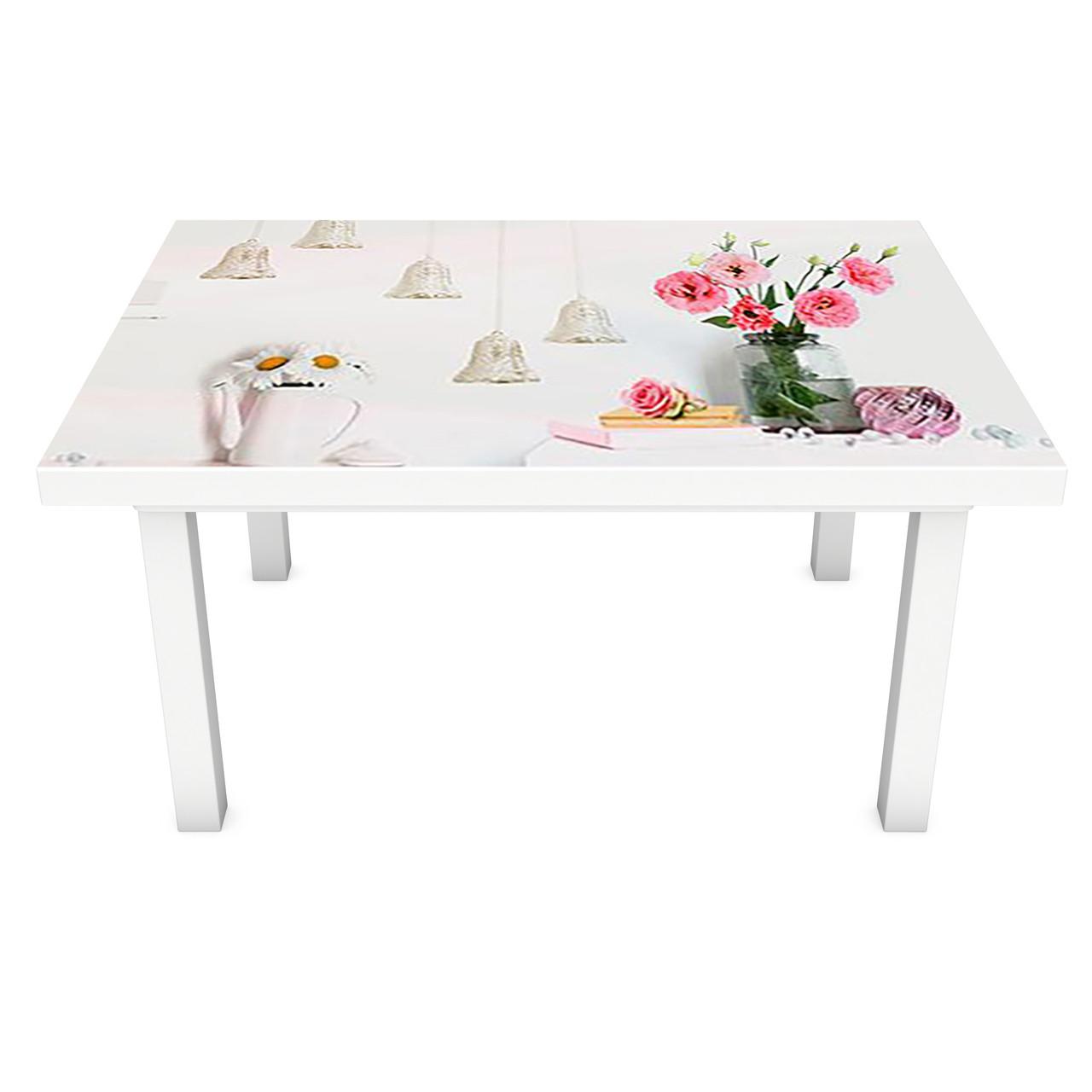 Виниловая наклейка на стол Старинные колокольчики интерьерная ПВХ пленка для мебели под кирпич Прованс Серый
