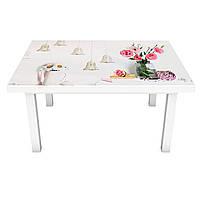 Виниловая наклейка на стол Старинные колокольчики интерьерная ПВХ пленка для мебели под кирпич Прованс Серый, фото 1