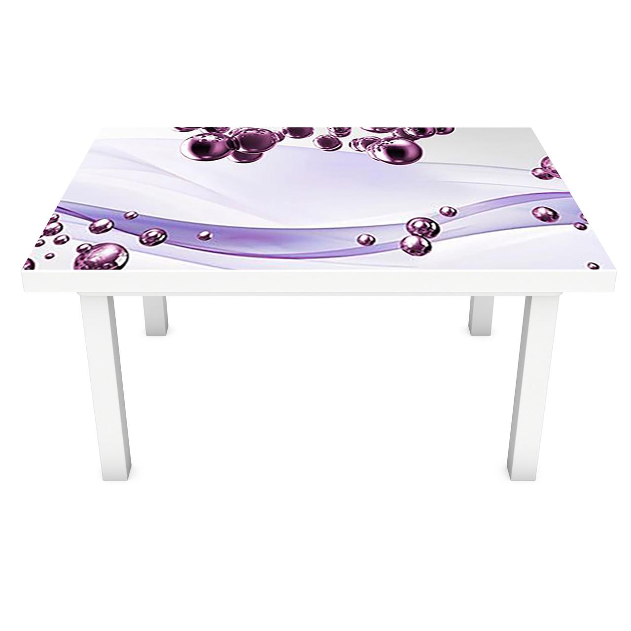 Виниловая наклейка на стол Фиолетовые Сферы (интерьерная ПВХ пленка для мебели) шары Абстракция 600*1200 мм