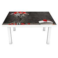 Виниловая наклейка на стол Красные Маки (интерьерная ПВХ пленка для мебели) 3Д продолжение стола Серый 600*1200 мм