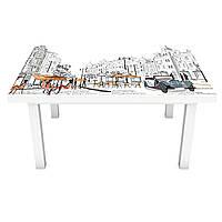 Виниловая наклейка на стол Улицы Парижа (интерьерная ПВХ пленка для мебели) карандаш люди силуэты Серый 600*1200 мм, фото 1