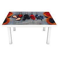 Виниловая наклейка на стол Лесные ягоды (интерьерная ПВХ пленка для мебели) натюрморт клубника черника Серый 600*1200 мм, фото 1