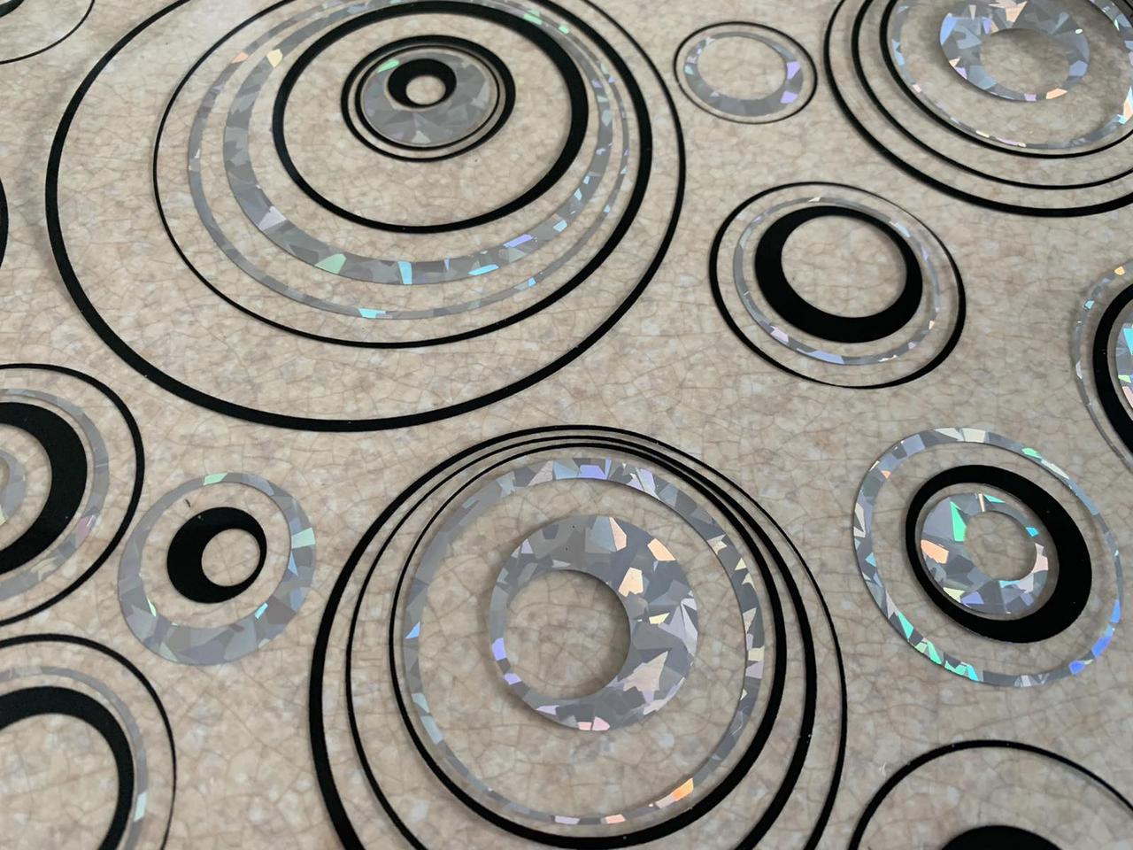 Скатертина м'яке скло Soft Glass з лазерним малюнком 2.2х0.8м (товщина 1.5 мм) Сріблясто-чорні кола