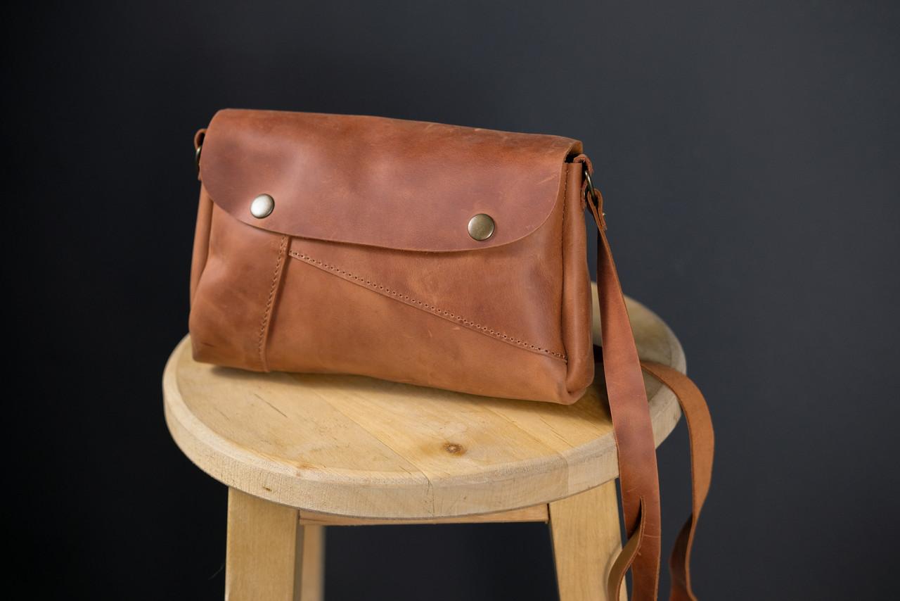 Женская сумка Френки Винтажная кожа цвет Коньяк