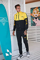 Мужской спортивный костюм двойка осень весна, желтый (реплика Nike) двойка на змейке для бега спорта выходной