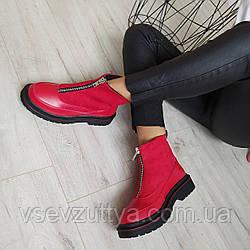 Ботинки женские красные экокожа 40