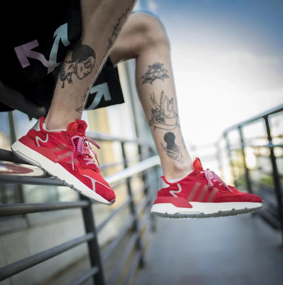 Мужские кроссовки Adidas Nite Jogger в стиле адидас найт джоггер КРАСНЫЕ (Реплика ААА+)