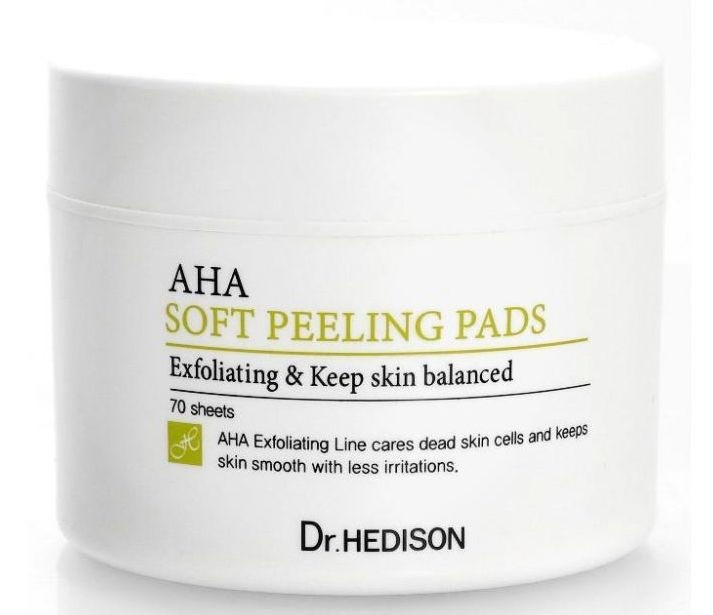 Корейские ватные пилинг-диски с AHA-кислотами Dr.Hedison AHA Soft Peeling Pads 70 шт