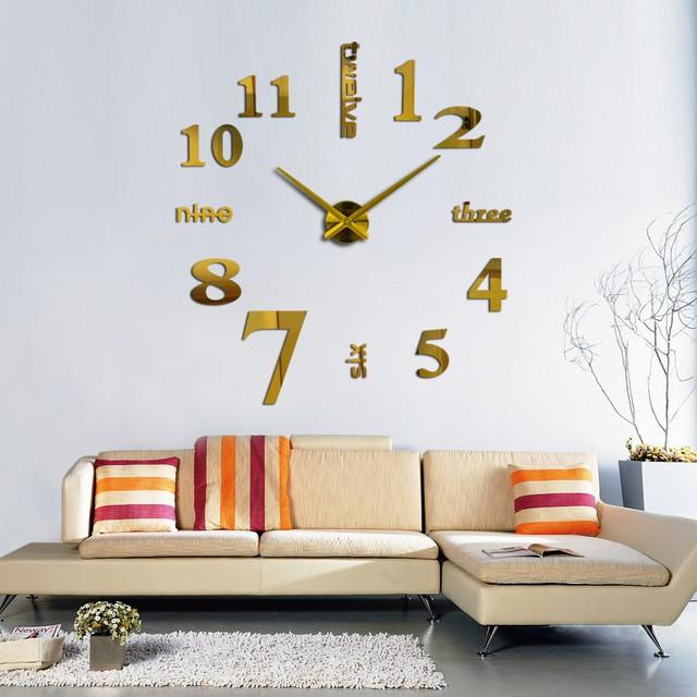 3d наклейка настенные часы Большие 3D часы 70-150см Слова Золото