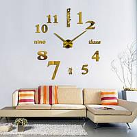 3d наклейка настенные часы Большие 3D часы 70-150см Слова Золото, фото 1