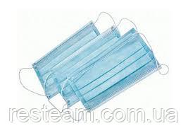 Маска защитная одноразовая 2-х сторонняя голубая-белая 50шт/уп