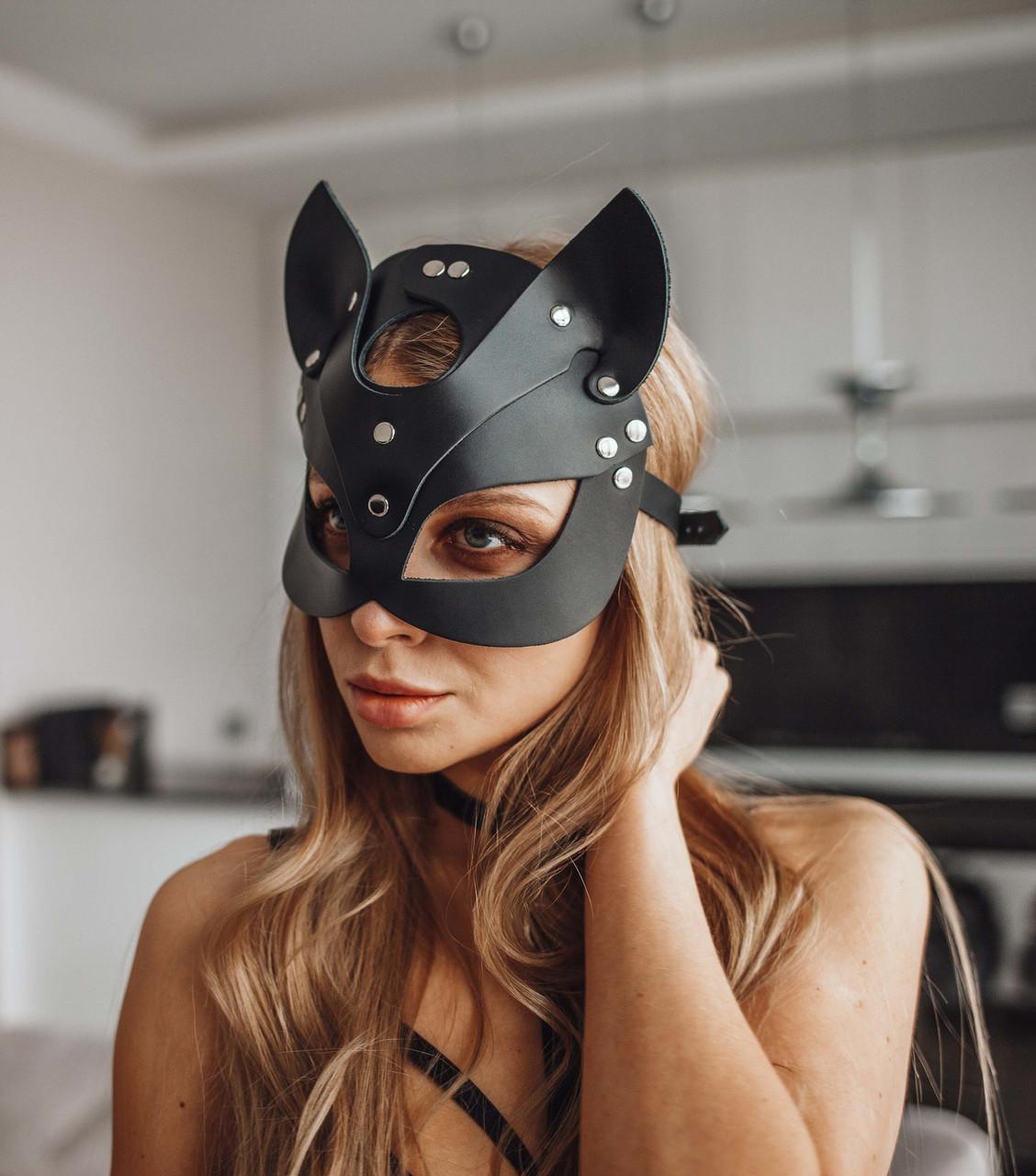 Женская кожаная маска кошечка  Чёрный