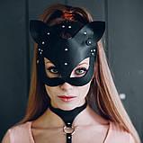 Женская кожаная маска кошечка  Чёрный, фото 3
