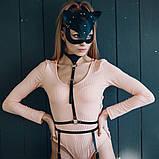 Женская кожаная маска кошечка  Чёрный, фото 4