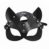 Женская кожаная маска кошечка  Чёрный, фото 5
