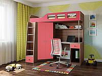 """Детская кровать-чердак с рабочей зоной,со шкафом """" Астра 7 """"Кровать чердак со столом для школьника 198*114*186"""