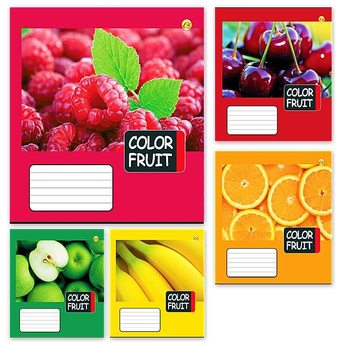 Тетрадь школьная в клеточку 18 листов Тетрада, фруктовая