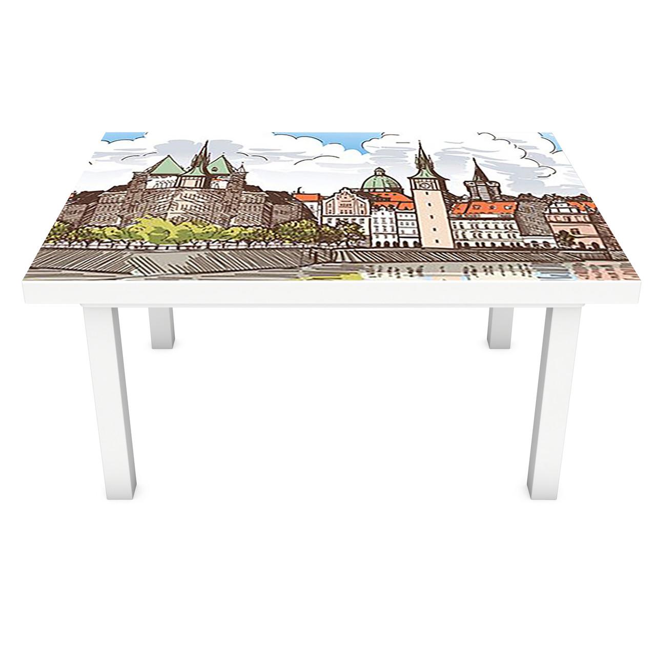 Наклейка на стол Крепость ПВХ интерьерная пленка для мебели карандаш рисунок замок город 600*1200 мм