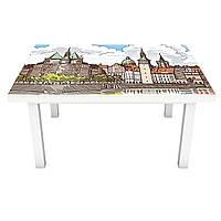 Наклейка на стіл Фортеця ПВХ інтер'єрна плівка для меблів олівець малюнок замок місто 600*1200 мм